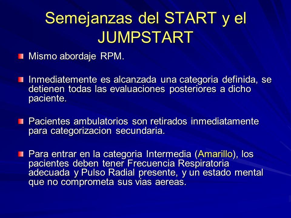 Semejanzas del START y el JUMPSTART Mismo abordaje RPM. Inmediatemente es alcanzada una categoria definida, se detienen todas las evaluaciones posteri