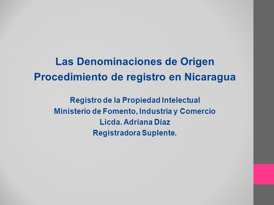 Las Denominaciones de Origen Procedimiento de registro en Nicaragua Registro de la Propiedad Intelectual Ministerio de Fomento, Industria y Comercio L