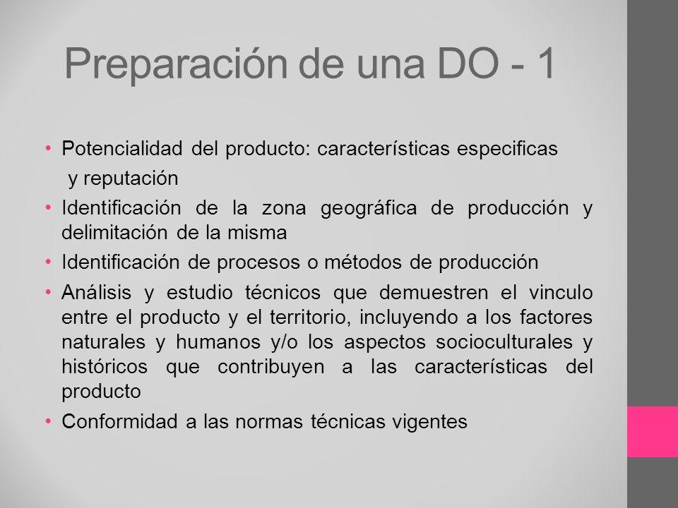 Preparación de una DO - 1 Potencialidad del producto: características especificas y reputación Identificación de la zona geográfica de producción y de