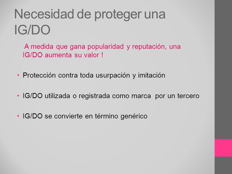Necesidad de proteger una IG/DO A medida que gana popularidad y reputación, una IG/DO aumenta su valor ! Protección contra toda usurpación y imitación