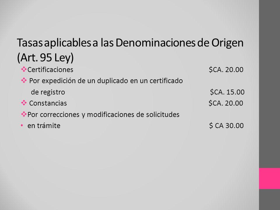 Certificaciones $CA. 20.00 Por expedición de un duplicado en un certificado de registro $CA. 15.00 Constancias $CA. 20.00 Por correcciones y modificac