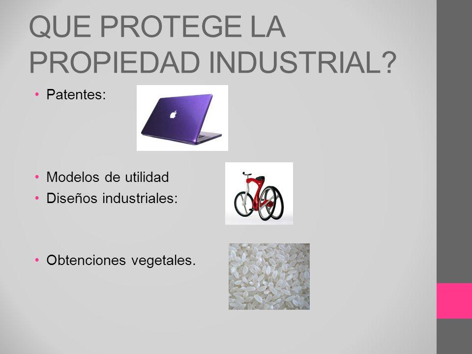 QUE PROTEGE LA PROPIEDAD INDUSTRIAL? Patentes: Modelos de utilidad Diseños industriales: Obtenciones vegetales.