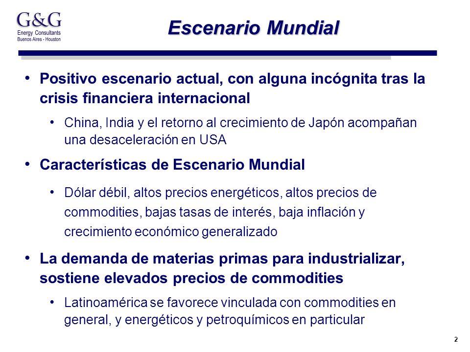 2 Escenario Mundial Positivo escenario actual, con alguna incógnita tras la crisis financiera internacional China, India y el retorno al crecimiento d