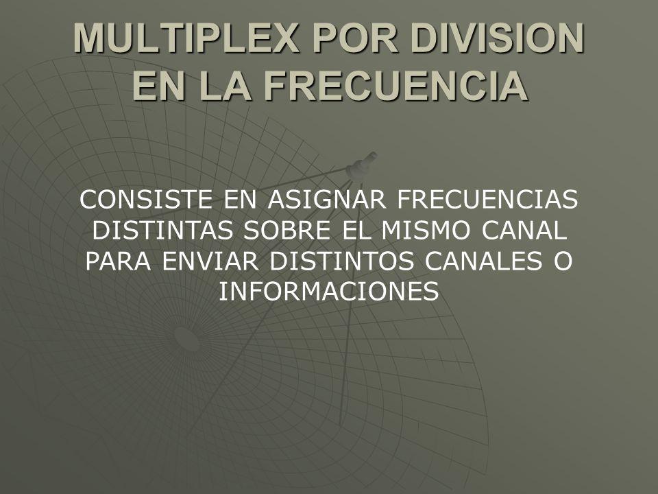 MULTIPLEX POR DIVISION EN LA FRECUENCIA CONSISTE EN ASIGNAR FRECUENCIAS DISTINTAS SOBRE EL MISMO CANAL PARA ENVIAR DISTINTOS CANALES O INFORMACIONES