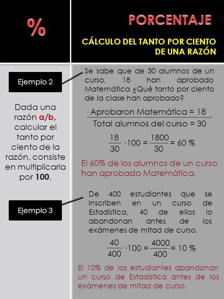 Dada una razón a/b, calcular el tanto por ciento de la razón, consiste en multiplicarla por 100. Se sabe que de 30 alumnos de un curso, 18 han aprobad