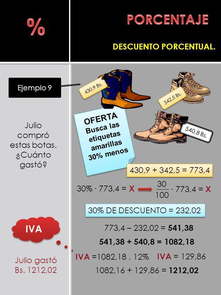 Julio compró estas botas. ¿Cuánto gastó? Ejemplo 9 DESCUENTO PORCENTUAL. 773,4 = X 30 100 1082,16 + 129,86 = 1212,02 Julio gastó Bs. 1212,02 30% 773,4