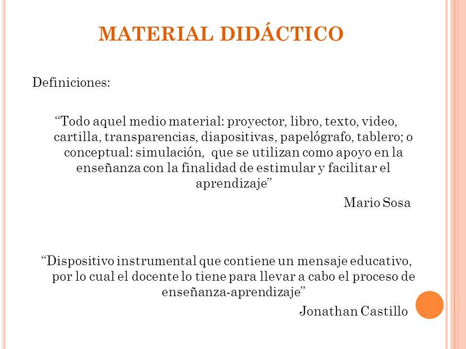 MATERIAL DIDÁCTICO Definiciones: Todo aquel medio material: proyector, libro, texto, video, cartilla, transparencias, diapositivas, papelógrafo, table
