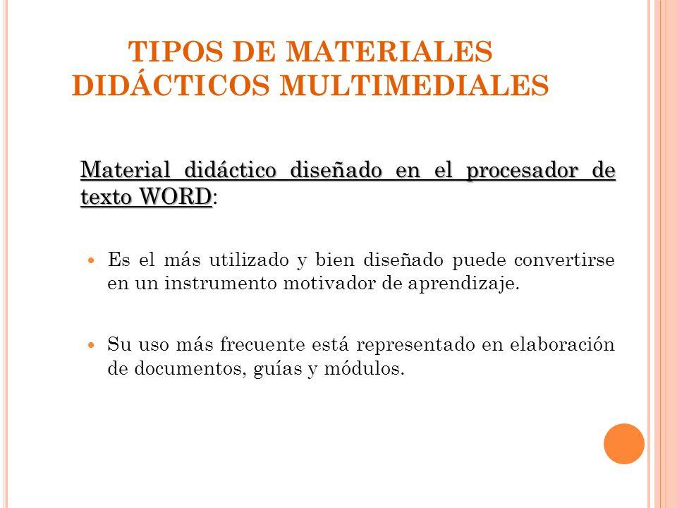 TIPOS DE MATERIALES DIDÁCTICOS MULTIMEDIALES Material didáctico diseñado en el procesador de texto WORD Material didáctico diseñado en el procesador d