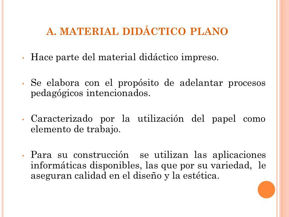 A. MATERIAL DIDÁCTICO PLANO Hace parte del material didáctico impreso. Se elabora con el propósito de adelantar procesos pedagógicos intencionados. Ca