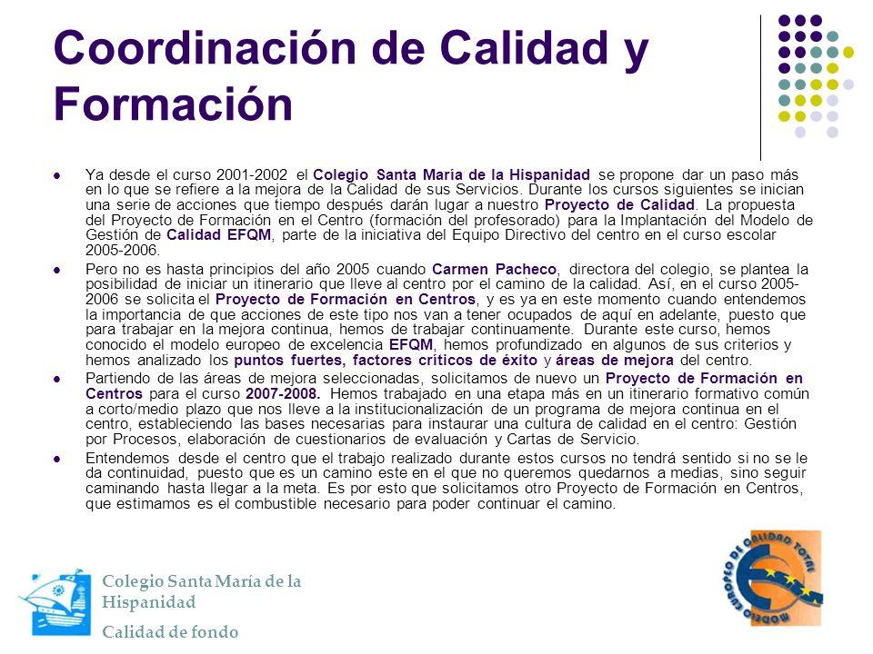 Coordinación de Calidad y Formación Ya desde el curso 2001-2002 el Colegio Santa María de la Hispanidad se propone dar un paso más en lo que se refier