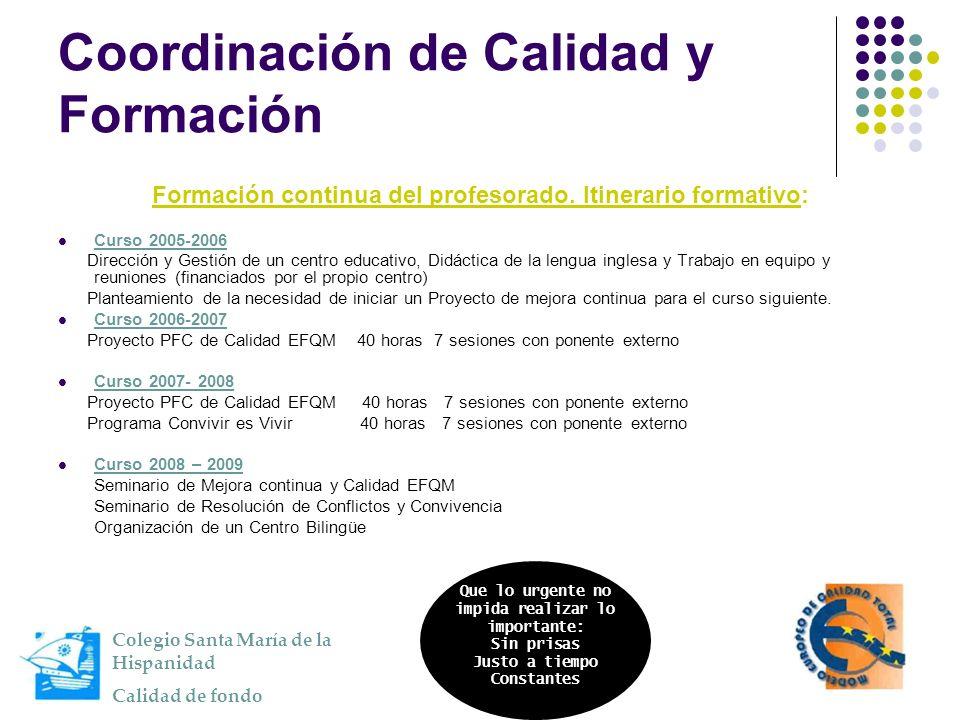 Coordinación de Calidad y Formación Formación continua del profesorado. Itinerario formativo: Curso 2005-2006 Dirección y Gestión de un centro educati