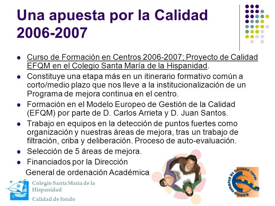 Una apuesta por la Calidad 2006-2007 Curso de Formación en Centros 2006-2007; Proyecto de Calidad EFQM en el Colegio Santa María de la Hispanidad. Con