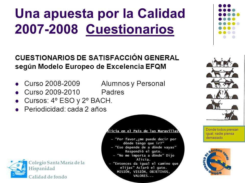 Una apuesta por la Calidad 2007-2008 Cuestionarios CUESTIONARIOS DE SATISFACCIÓN GENERAL según Modelo Europeo de Excelencia EFQM Curso 2008-2009 Alumn