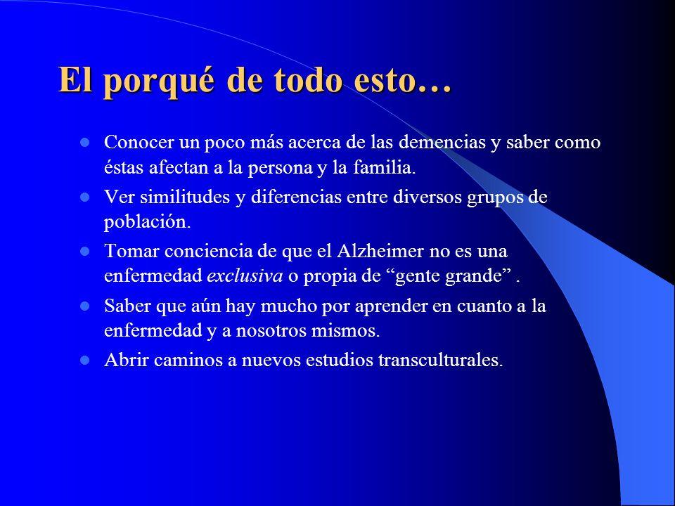 El porqué de todo esto… Conocer un poco más acerca de las demencias y saber como éstas afectan a la persona y la familia.