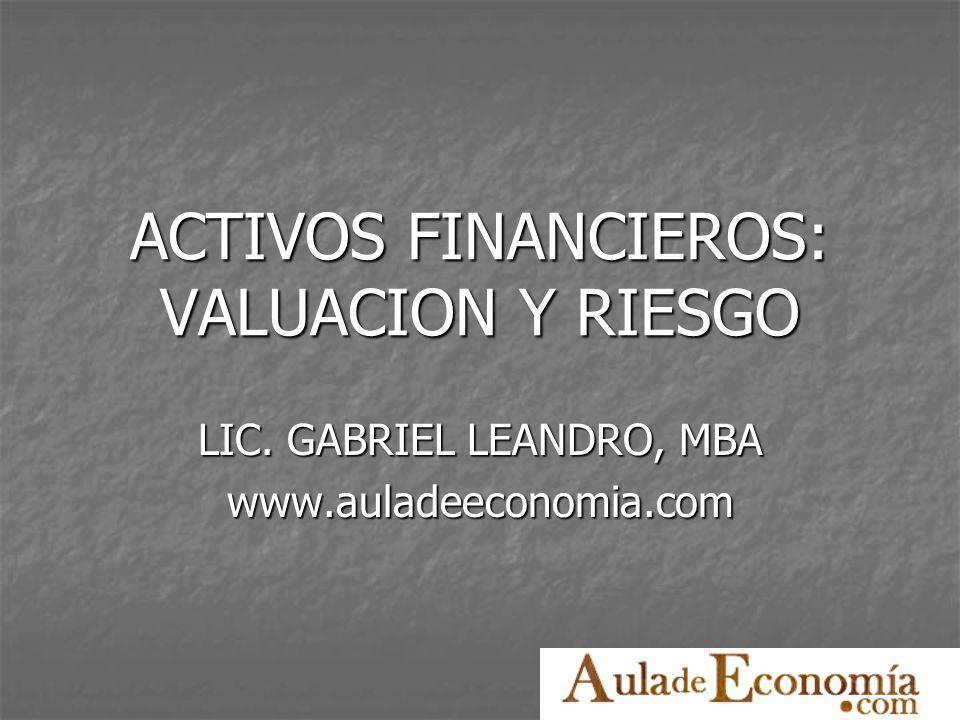http://www.auladeeconomia.com Tipos de riesgo Basta agregar más activos a la cartera para que cualquier inversionista pueda eliminar todo o casi todo el riesgo diversificable.