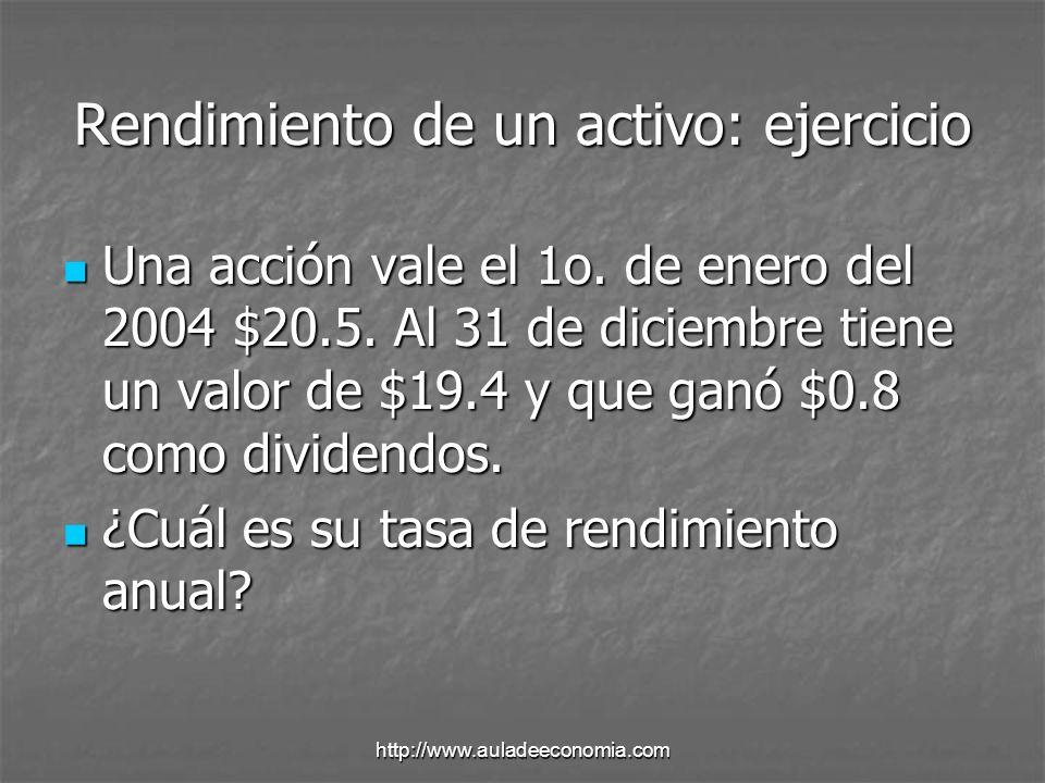http://www.auladeeconomia.com VALUACION: Proceso que relaciona el riesgo y el rendimiento de un activo para determinar su valor.