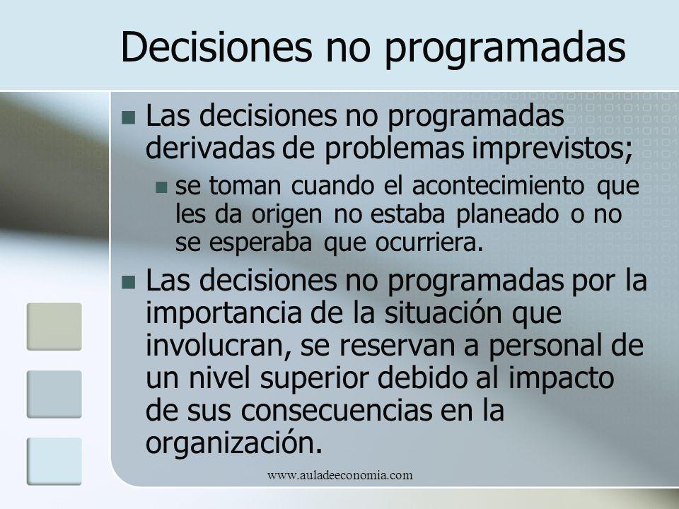 www.auladeeconomia.com Decisiones no programadas Las decisiones no programadas derivadas de problemas imprevistos; se toman cuando el acontecimiento q