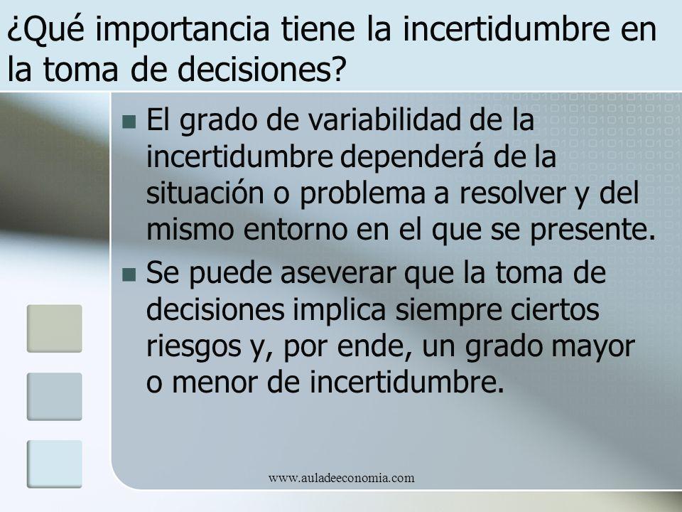 www.auladeeconomia.com ¿Qué importancia tiene la incertidumbre en la toma de decisiones? El grado de variabilidad de la incertidumbre dependerá de la