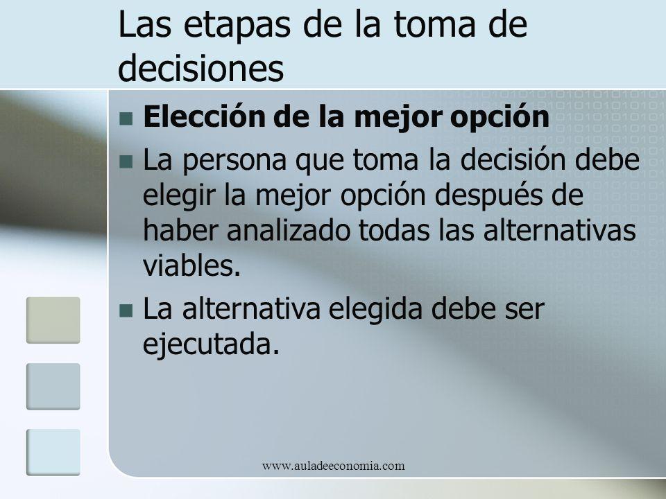 www.auladeeconomia.com Las etapas de la toma de decisiones Elección de la mejor opción La persona que toma la decisión debe elegir la mejor opción des