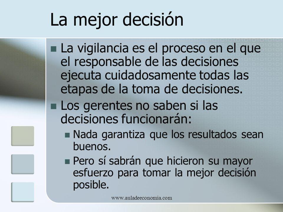www.auladeeconomia.com La mejor decisión La vigilancia es el proceso en el que el responsable de las decisiones ejecuta cuidadosamente todas las etapa