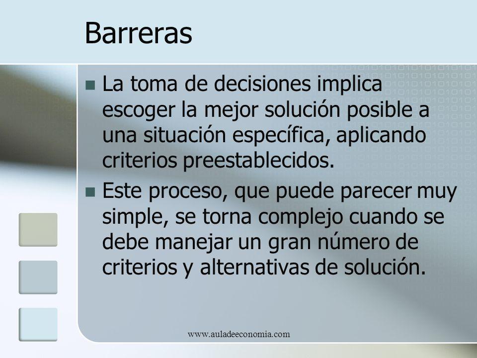 www.auladeeconomia.com Barreras La toma de decisiones implica escoger la mejor solución posible a una situación específica, aplicando criterios preest