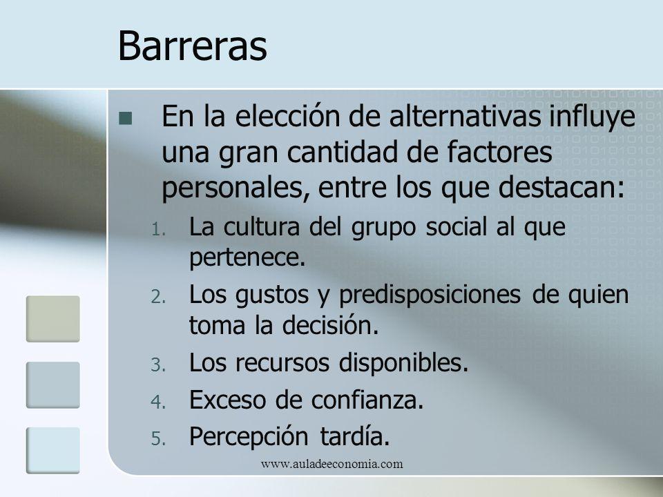 www.auladeeconomia.com Barreras En la elección de alternativas influye una gran cantidad de factores personales, entre los que destacan: 1. La cultura