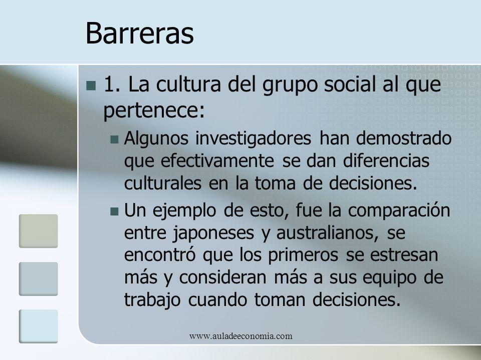 www.auladeeconomia.com Barreras 1. La cultura del grupo social al que pertenece: Algunos investigadores han demostrado que efectivamente se dan difere