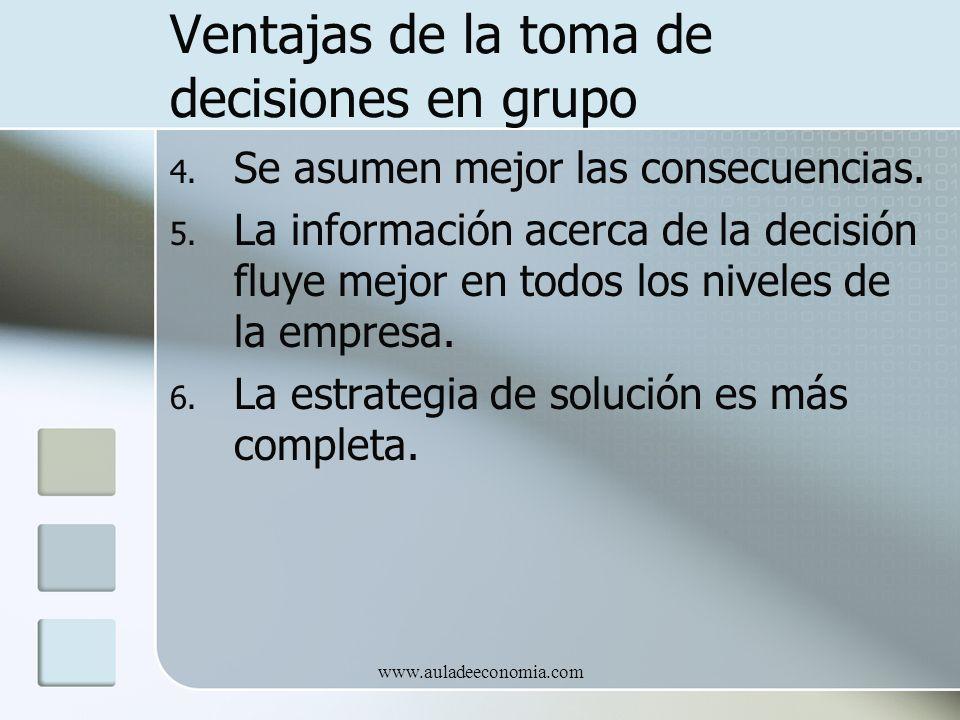 www.auladeeconomia.com Ventajas de la toma de decisiones en grupo 4. Se asumen mejor las consecuencias. 5. La información acerca de la decisión fluye