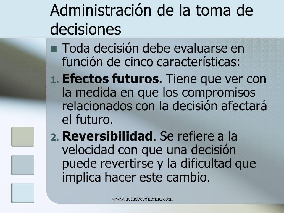 www.auladeeconomia.com Administración de la toma de decisiones Toda decisión debe evaluarse en función de cinco características: 1. Efectos futuros. T