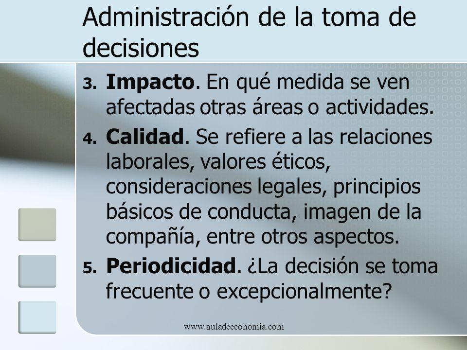 www.auladeeconomia.com Administración de la toma de decisiones 3. Impacto. En qué medida se ven afectadas otras áreas o actividades. 4. Calidad. Se re