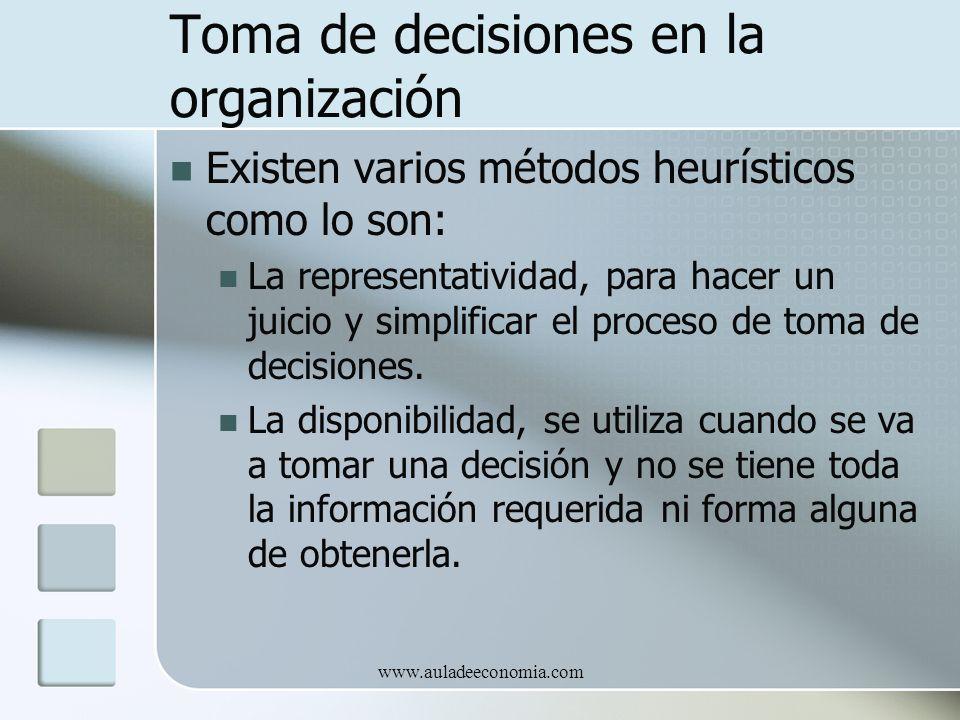www.auladeeconomia.com Toma de decisiones en la organización Existen varios métodos heurísticos como lo son: La representatividad, para hacer un juici