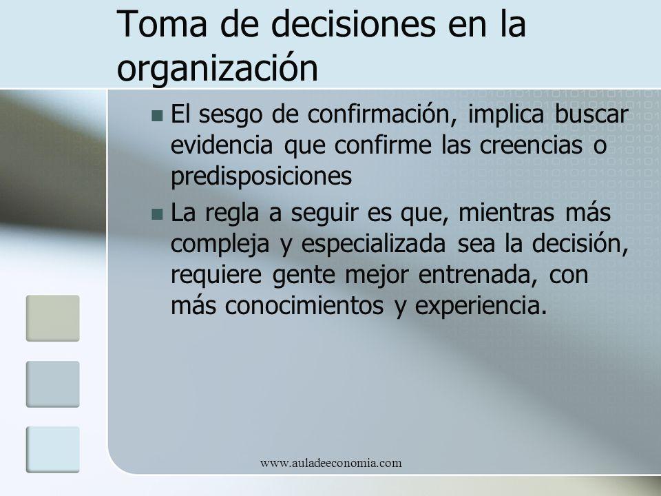 www.auladeeconomia.com Toma de decisiones en la organización El sesgo de confirmación, implica buscar evidencia que confirme las creencias o predispos