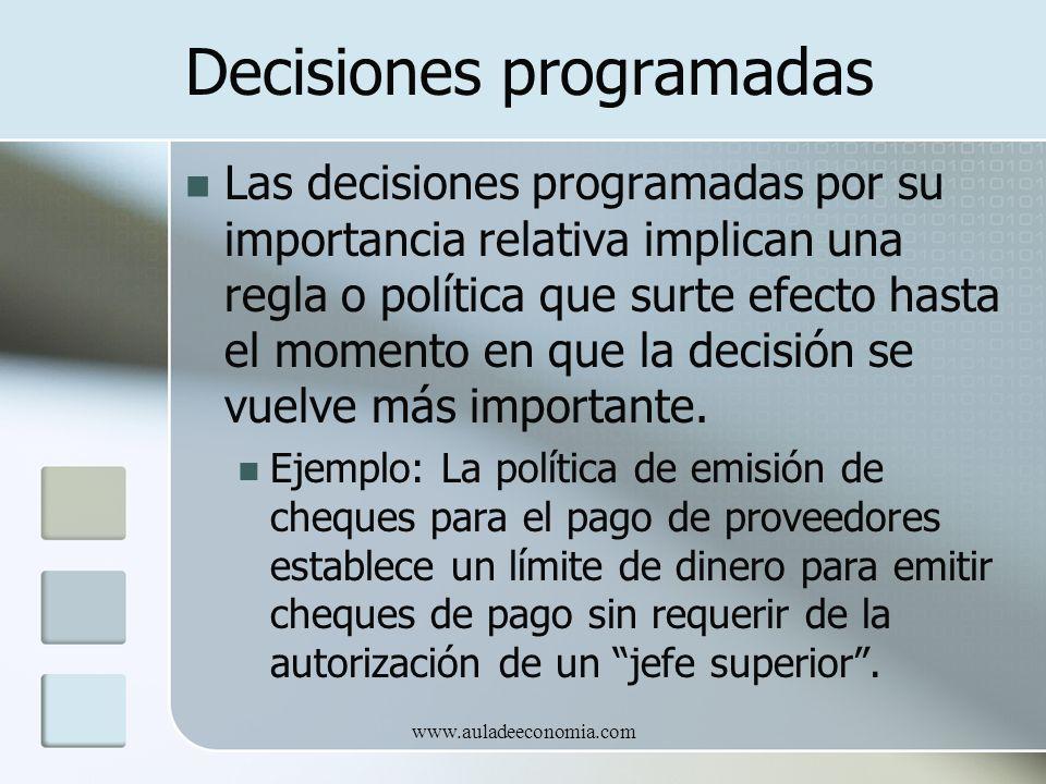 www.auladeeconomia.com Decisiones programadas Las decisiones programadas por su importancia relativa implican una regla o política que surte efecto ha