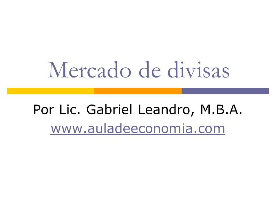 Mercado de divisas Por Lic. Gabriel Leandro, M.B.A. www.auladeeconomia.com
