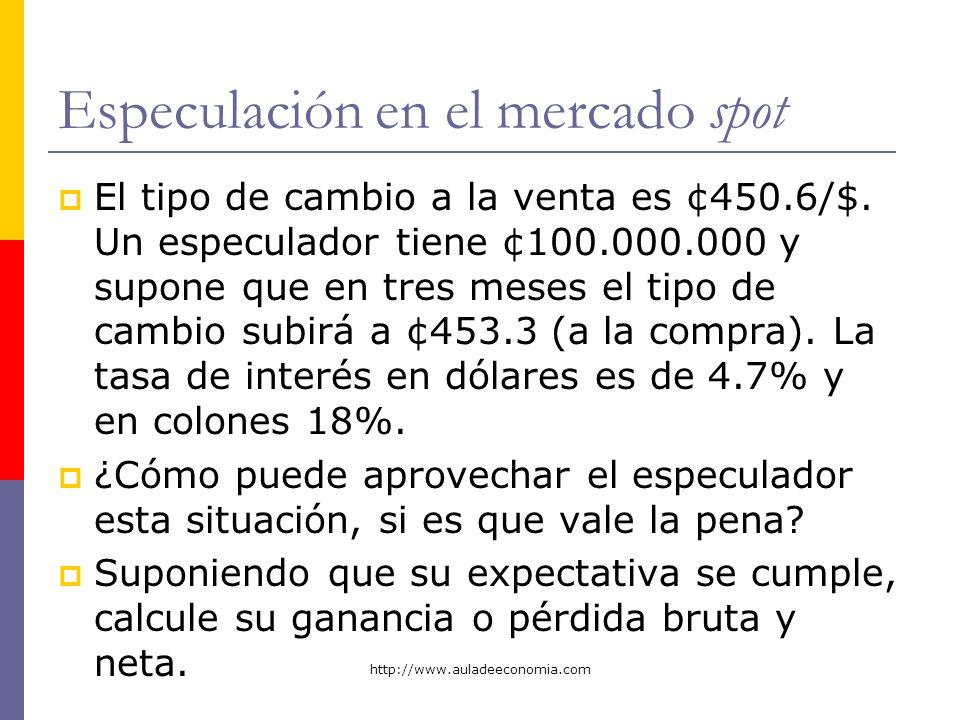 http://www.auladeeconomia.com Especulación en el mercado spot El tipo de cambio a la venta es ¢450.6/$. Un especulador tiene ¢100.000.000 y supone que