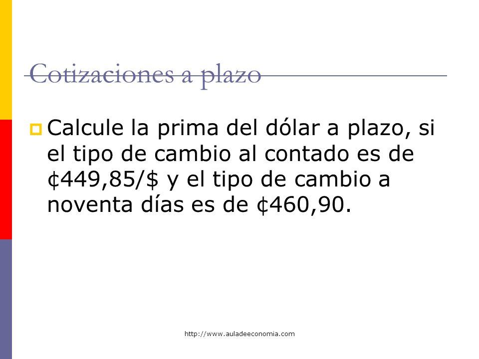 http://www.auladeeconomia.com Cotizaciones a plazo Calcule la prima del dólar a plazo, si el tipo de cambio al contado es de ¢449,85/$ y el tipo de ca