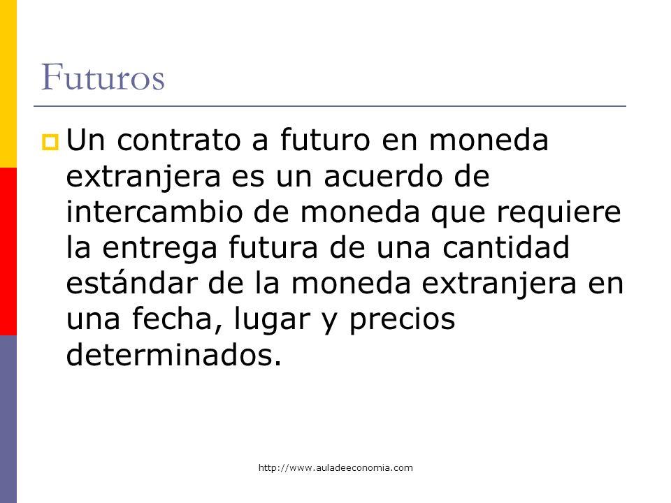 http://www.auladeeconomia.com Futuros Un contrato a futuro en moneda extranjera es un acuerdo de intercambio de moneda que requiere la entrega futura