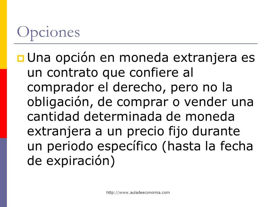 http://www.auladeeconomia.com Opciones Una opción en moneda extranjera es un contrato que confiere al comprador el derecho, pero no la obligación, de