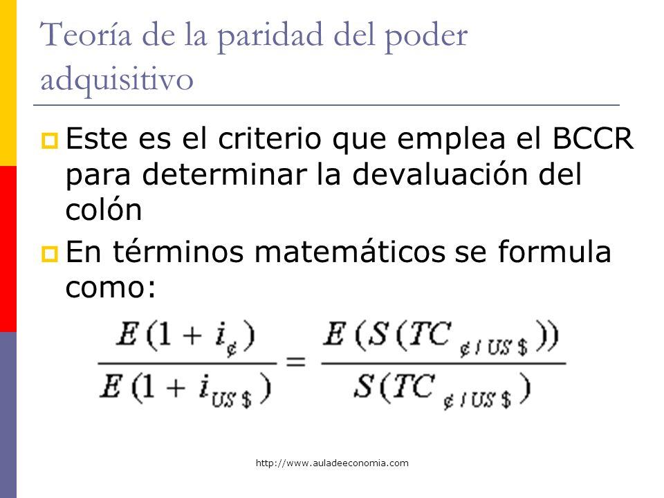 http://www.auladeeconomia.com Teoría de la paridad del poder adquisitivo Este es el criterio que emplea el BCCR para determinar la devaluación del col