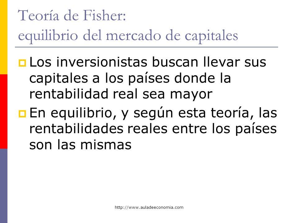 http://www.auladeeconomia.com Teoría de Fisher: equilibrio del mercado de capitales Los inversionistas buscan llevar sus capitales a los países donde
