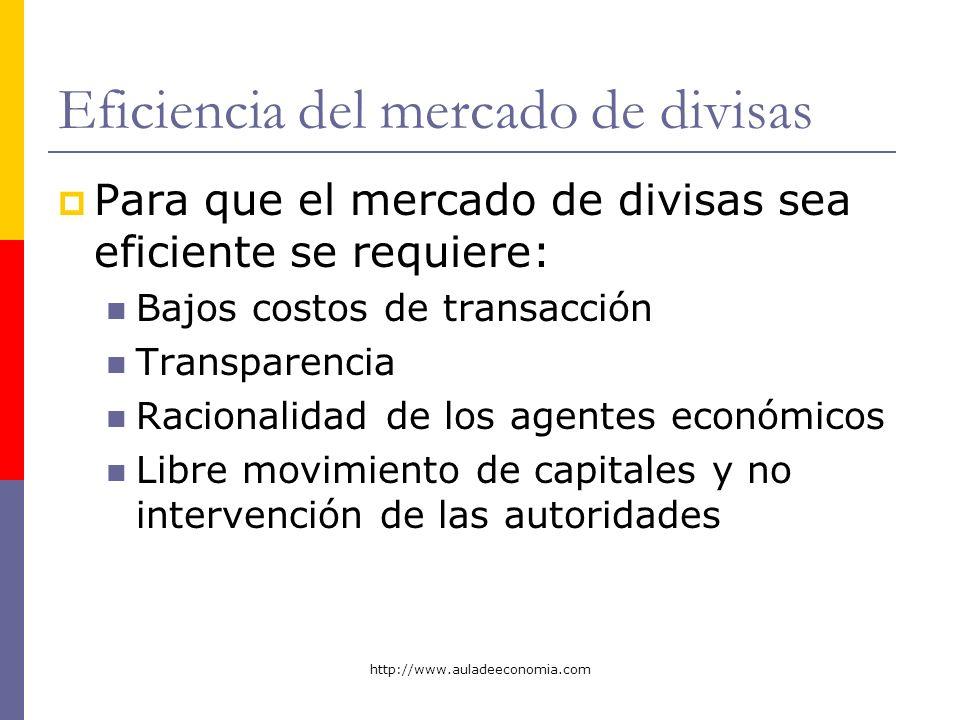 http://www.auladeeconomia.com Eficiencia del mercado de divisas Para que el mercado de divisas sea eficiente se requiere: Bajos costos de transacción