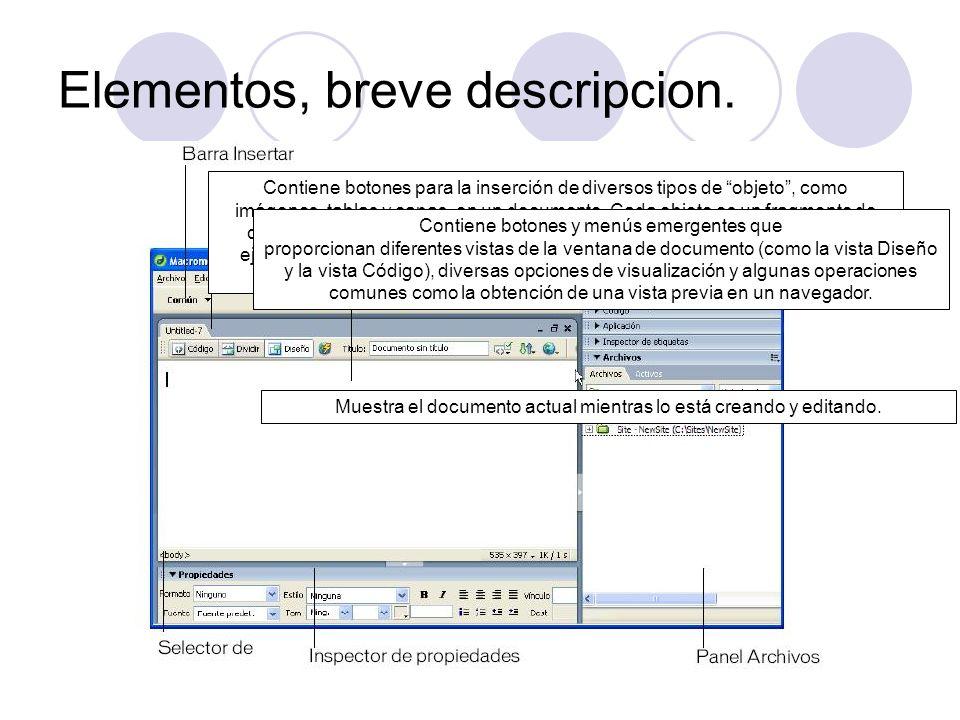 Elementos, breve descripcion. Contiene botones para la inserción de diversos tipos de objeto, como imágenes, tablas y capas, en un documento. Cada obj