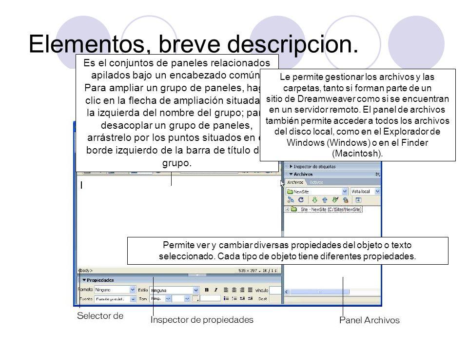 Elementos, breve descripcion. Permite ver y cambiar diversas propiedades del objeto o texto seleccionado. Cada tipo de objeto tiene diferentes propied
