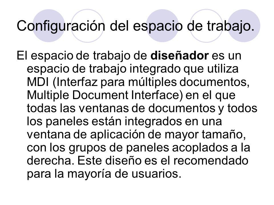 Configuración del espacio de trabajo. El espacio de trabajo de diseñador es un espacio de trabajo integrado que utiliza MDI (Interfaz para múltiples d