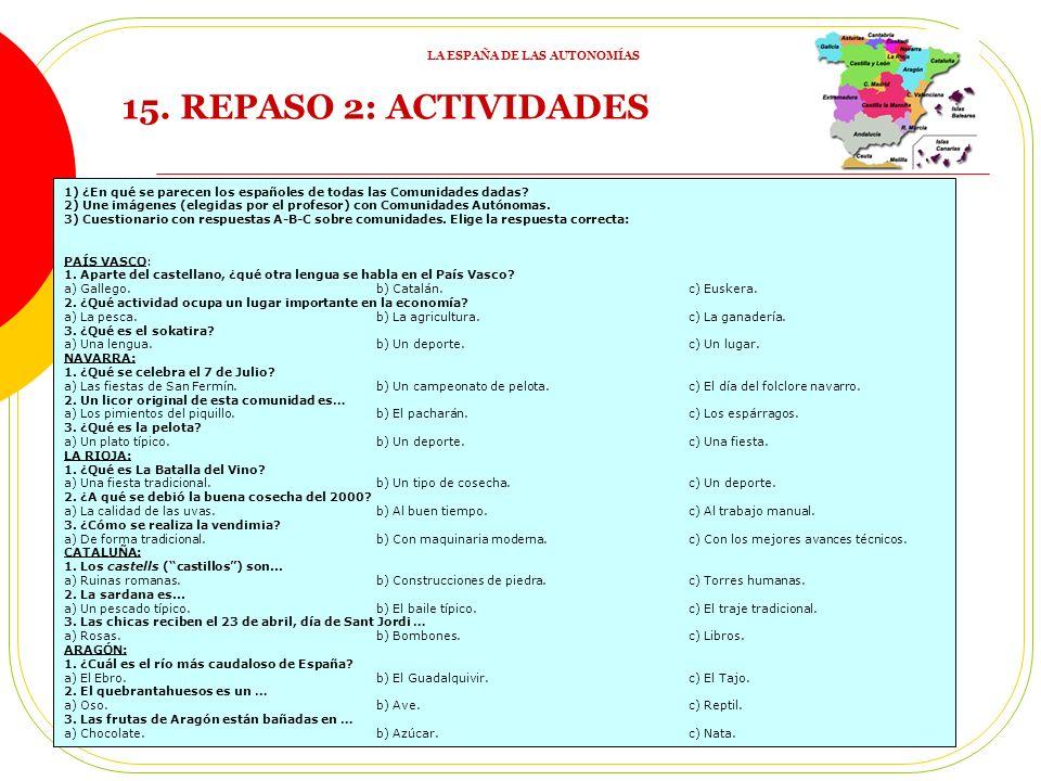 15.REPASO 2: ACTIVIDADES 1) ¿En qué se parecen los españoles de todas las Comunidades dadas.