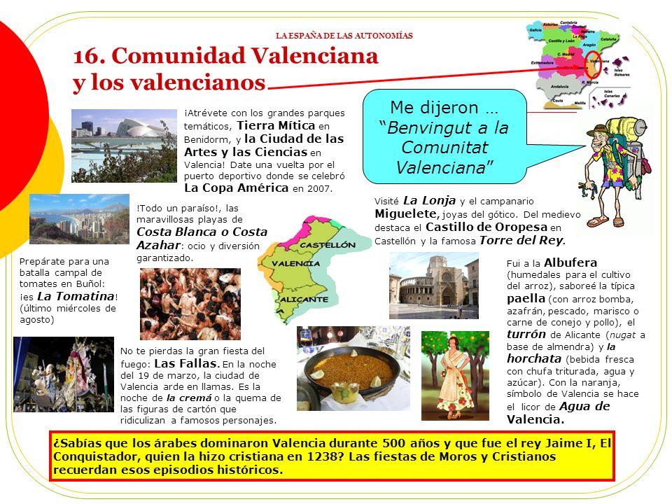 15. REPASO 2: ACTIVIDADES 1) ¿En qué se parecen los españoles de todas las Comunidades dadas? 2) Une imágenes (elegidas por el profesor) con Comunidad