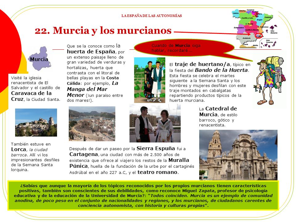 21. REPASO 3: ACTIVIDADES 1) ¿En qué se parecen los españoles de todas las Comunidades dadas? 2) Une imágenes (elegidas por el profesor) con Comunidad