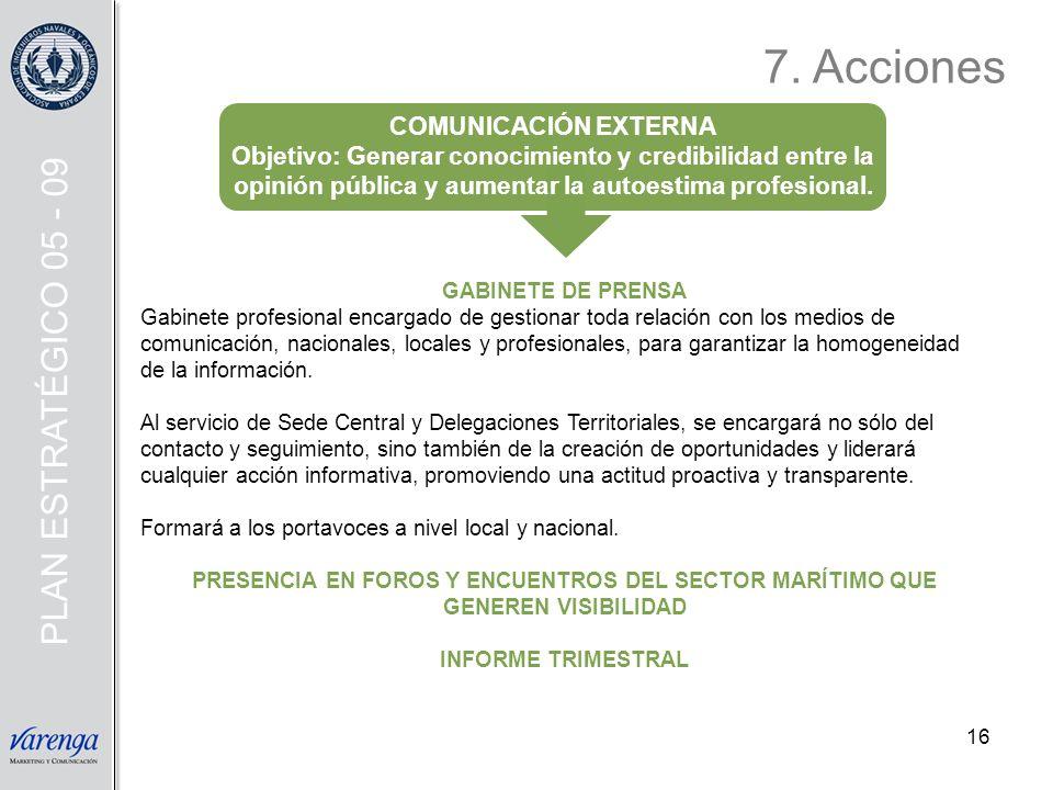 16 GABINETE DE PRENSA Gabinete profesional encargado de gestionar toda relación con los medios de comunicación, nacionales, locales y profesionales, p
