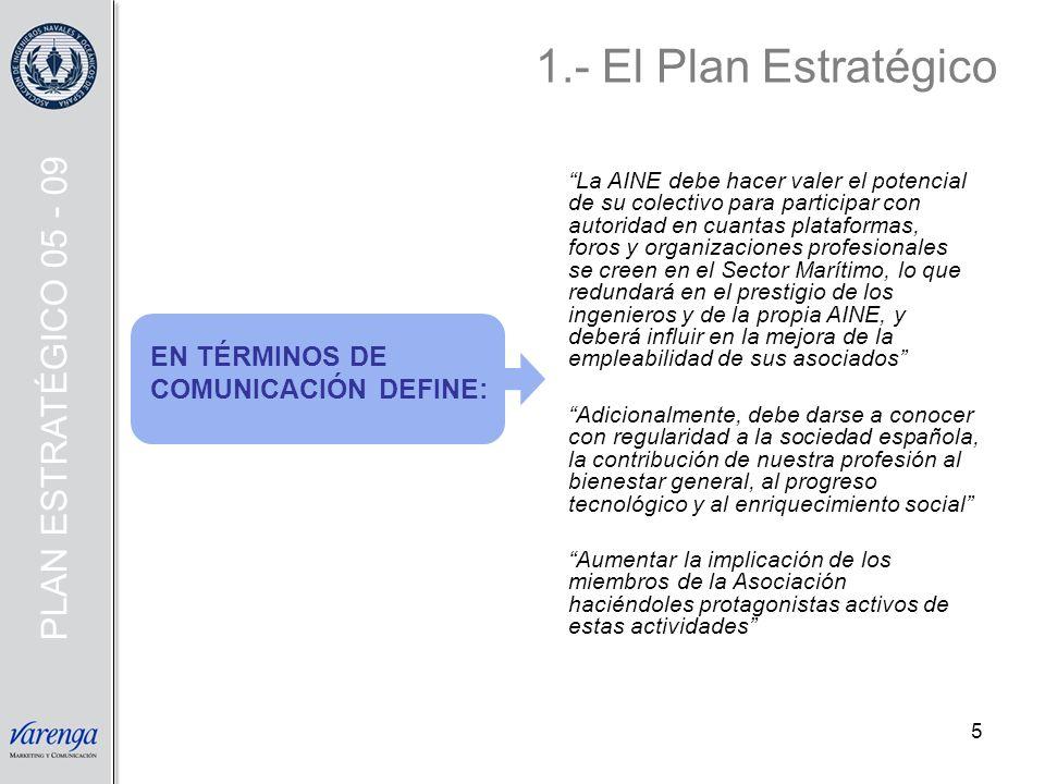 5 1.- El Plan Estratégico EN TÉRMINOS DE COMUNICACIÓN DEFINE: La AINE debe hacer valer el potencial de su colectivo para participar con autoridad en c