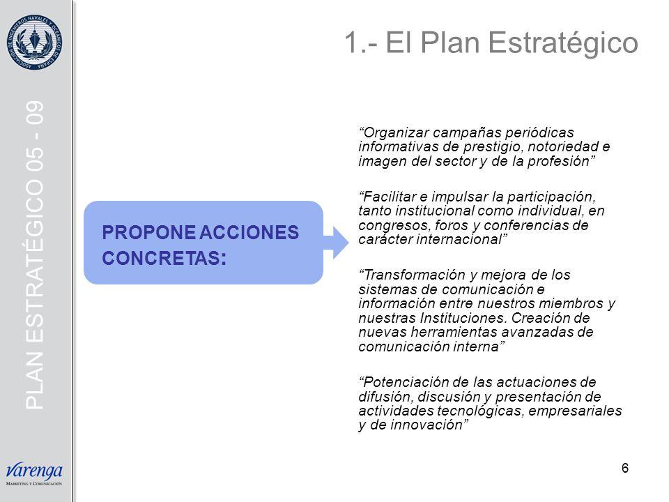 7 Implicación de las Delegaciones Territoriales Estrecha cooperación con el COIN Utilización de herramientas/ organizaciones propias y afines a las Instituciones Búsqueda de financiación exterior para algunas actividades Y PARA ELLO NECESITA: 1.- El Plan Estratégico PLAN ESTRATÉGICO 05 - 09